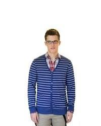 Cardigan à rayures horizontales blanc et bleu marine
