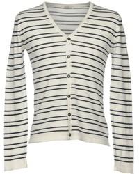 Cardigan à rayures horizontales blanc et noir