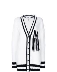 Cardigan à rayures horizontales blanc MSGM