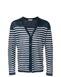 Cardigan à rayures horizontales bleu marine et blanc Etro