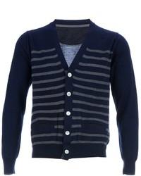 Cardigan à rayures horizontales bleu marine et blanc Sacai