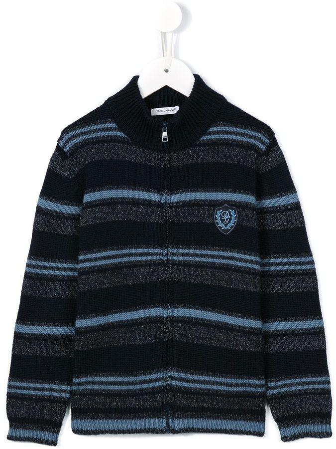 Cardigan à rayures horizontales bleu marine Dolce & Gabbana