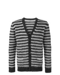 Cardigan à rayures horizontales gris foncé Nuur