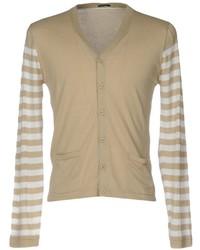 Cardigan à rayures horizontales marron clair