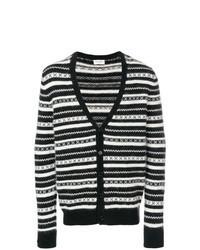 Cardigan à rayures horizontales noir et blanc
