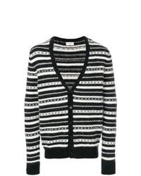Cardigan à rayures horizontales noir et blanc Saint Laurent