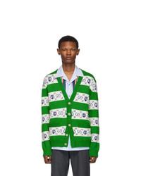 Cardigan à rayures horizontales vert Gucci