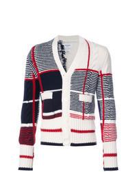Cardigan blanc et rouge et bleu marine
