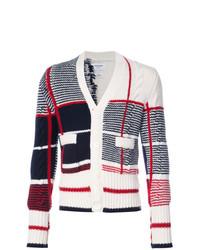Cardigan blanc et rouge et bleu marine Thom Browne