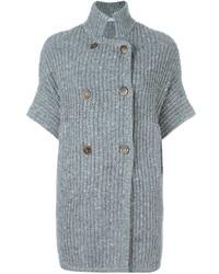 Cardigan croisé en tricot gris Brunello Cucinelli