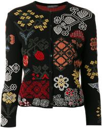 Cardigan en soie à fleurs noir Alexander McQueen