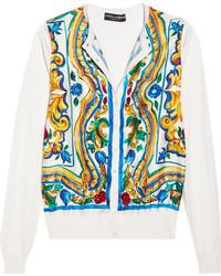 Cardigan en soie imprimé jaune Dolce & Gabbana