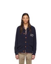 Cardigan en tricot bleu marine Gucci