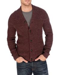 Cardigan en tricot bordeaux