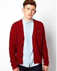 Cardigan en tricot bordeaux Farah Vintage