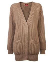 Cardigan en tricot brun