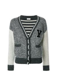 Cardigan en tricot gris foncé Saint Laurent