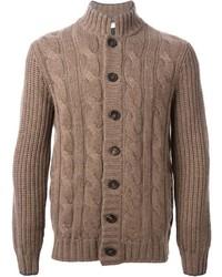 Cardigan en tricot marron clair Brunello Cucinelli