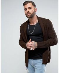 Cardigan en tricot marron foncé Asos