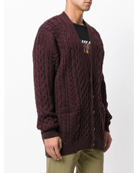 Cardigan en tricot marron foncé Maison Margiela