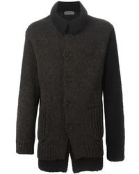 Cardigan en tricot marron foncé Yohji Yamamoto