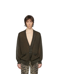 Cardigan en tricot olive Dries Van Noten