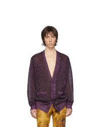 Cardigan en tricot pourpre foncé Dries Van Noten