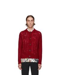 Cardigan en tricot rouge Prada