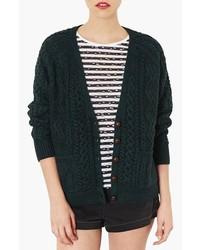 Cardigan en tricot vert foncé
