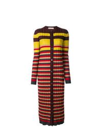 Cardigan long à rayures horizontales multicolore Marni