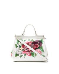 Cartable en cuir à fleurs blanc Dolce & Gabbana