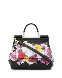 Cartable en cuir à fleurs noir Dolce & Gabbana