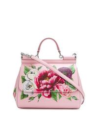 Cartable en cuir à fleurs rose Dolce & Gabbana