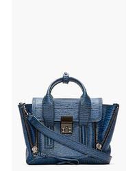 Cartable en cuir bleu marine 3.1 Phillip Lim