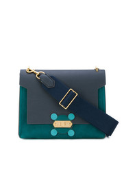 Cartable en cuir bleu marine Anya Hindmarch