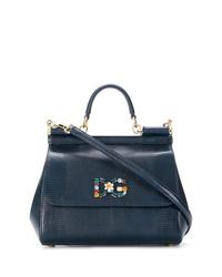 Cartable en cuir bleu marine Dolce & Gabbana