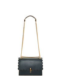 Cartable en cuir bleu marine Fendi