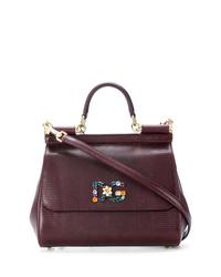 Cartable en cuir bordeaux Dolce & Gabbana