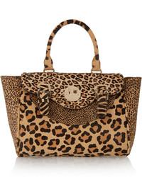 Cartable en cuir imprimé léopard marron clair Hill & Friends