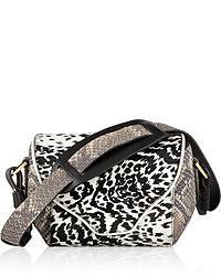 Cartable en cuir imprimé léopard noir et blanc