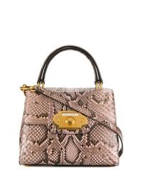 Cartable en cuir imprimé serpent marron clair Dolce & Gabbana