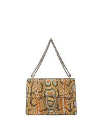 Cartable en cuir imprimé serpent marron clair Gucci