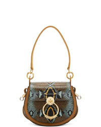 Cartable en cuir imprimé serpent marron Chloé