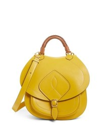 Cartable en cuir jaune
