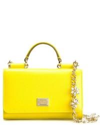 Cartable en cuir jaune Dolce & Gabbana
