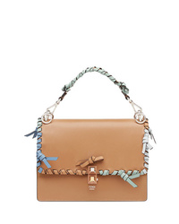 Cartable en cuir marron clair Fendi