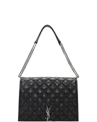 Cartable en cuir matelassé noir Saint Laurent