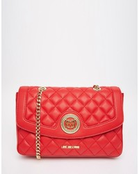 Cartable en cuir matelassé rouge Love Moschino