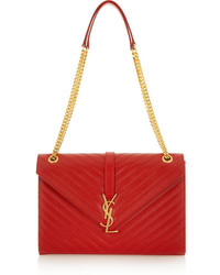 Cartable en cuir matelassé rouge Saint Laurent