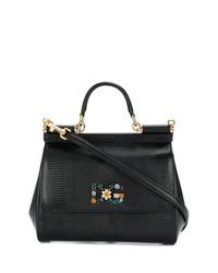 Cartable en cuir noir Dolce & Gabbana